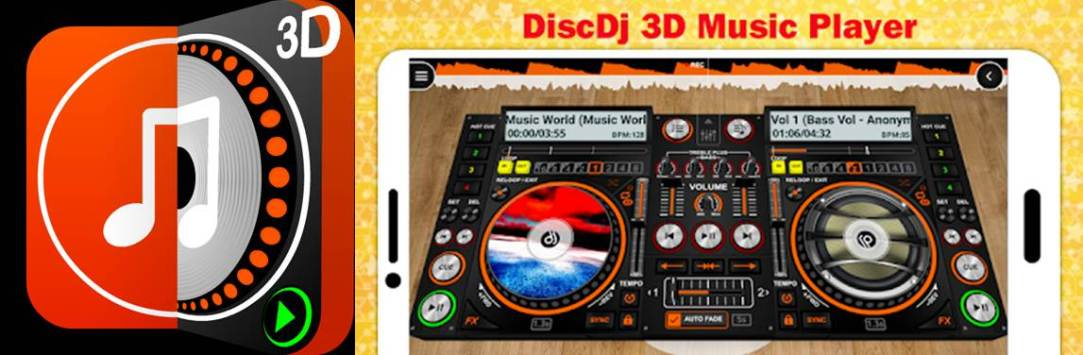 logo e interfaz de la app discdj 3d music player