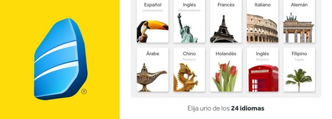 logo e idiomas de la app rosetta stone