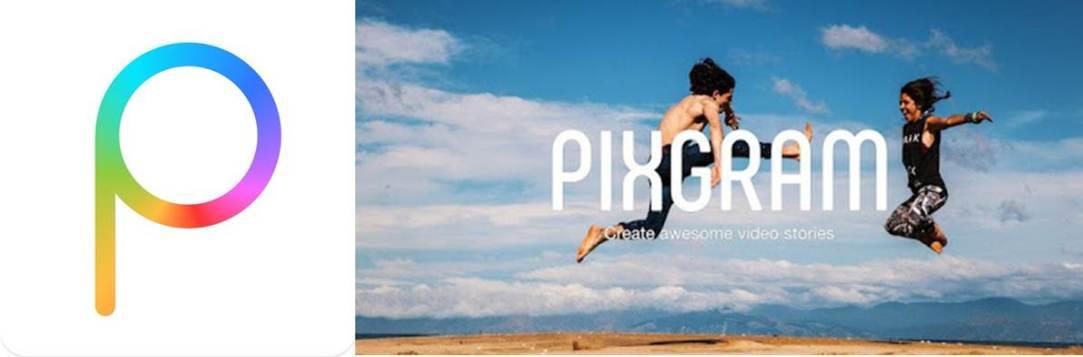logo y publicidad de la aplicación para hacer diapositivas pixgram