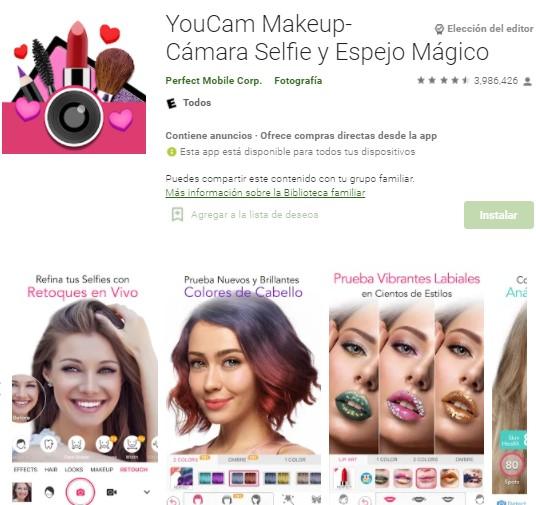 aplicaciones para maquillar