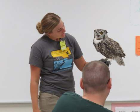 Cory Coffman from the Bureau of Land Management, Boise District, introduced a great horned owl to inmates at ISCC, SBWCC, and SRCI.