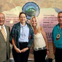 Pictured from left to right: Sho Dozono, Board Chairman, and President and CEO of Azumano Travel/American Express, Carol, Tamara and Reyn Leno, Trustee and Tribal Council Vice-Chair, Confederated Tribes of Grand Ronde.