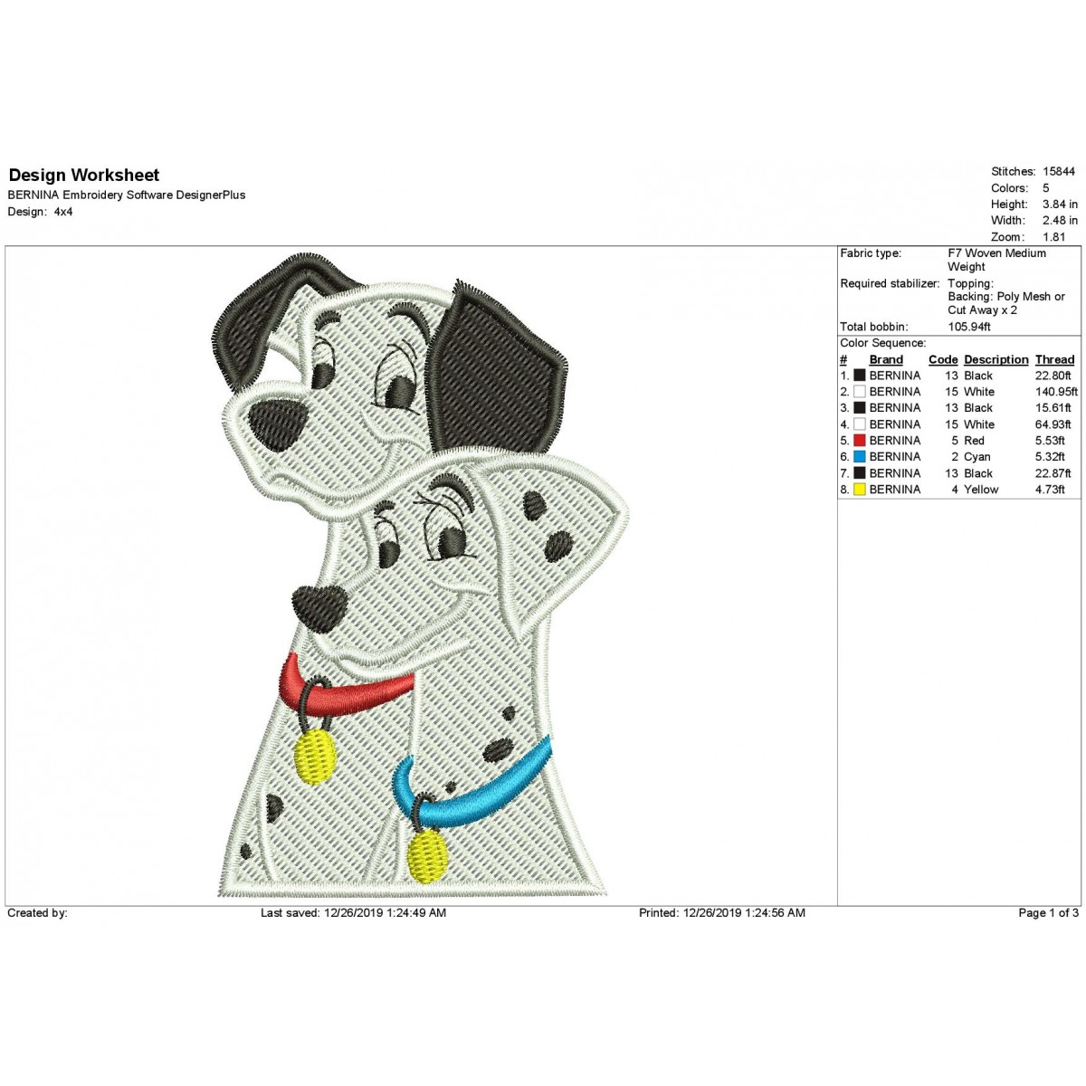 101 Dalmatians Fill Stitch Embroidery Design