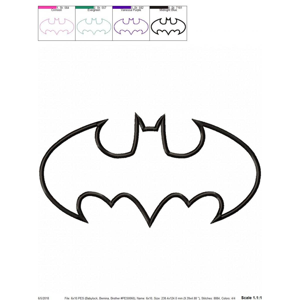 Batman Logo Applique Design Batman Embroidery