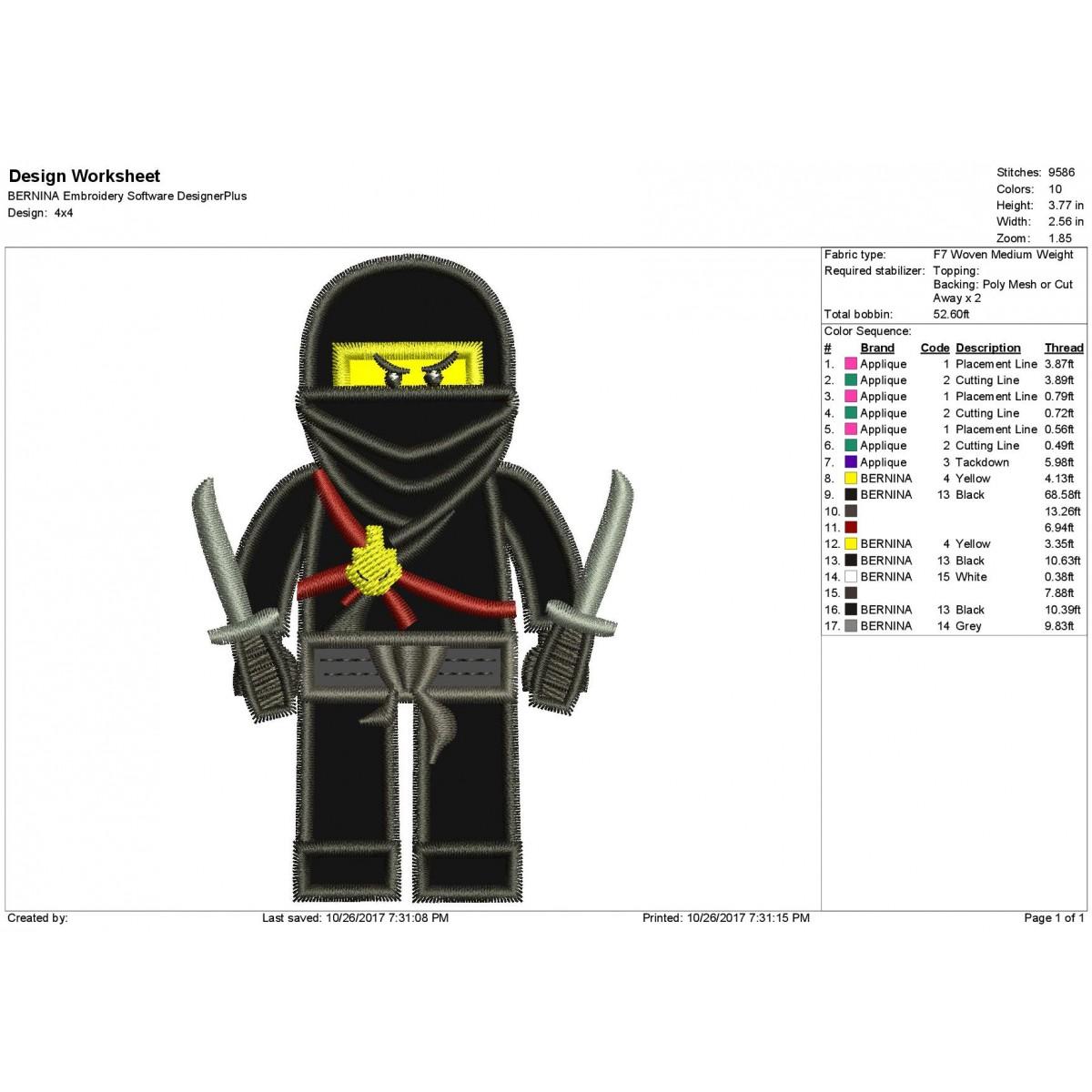 Cole Lego Ninjago Applique Design