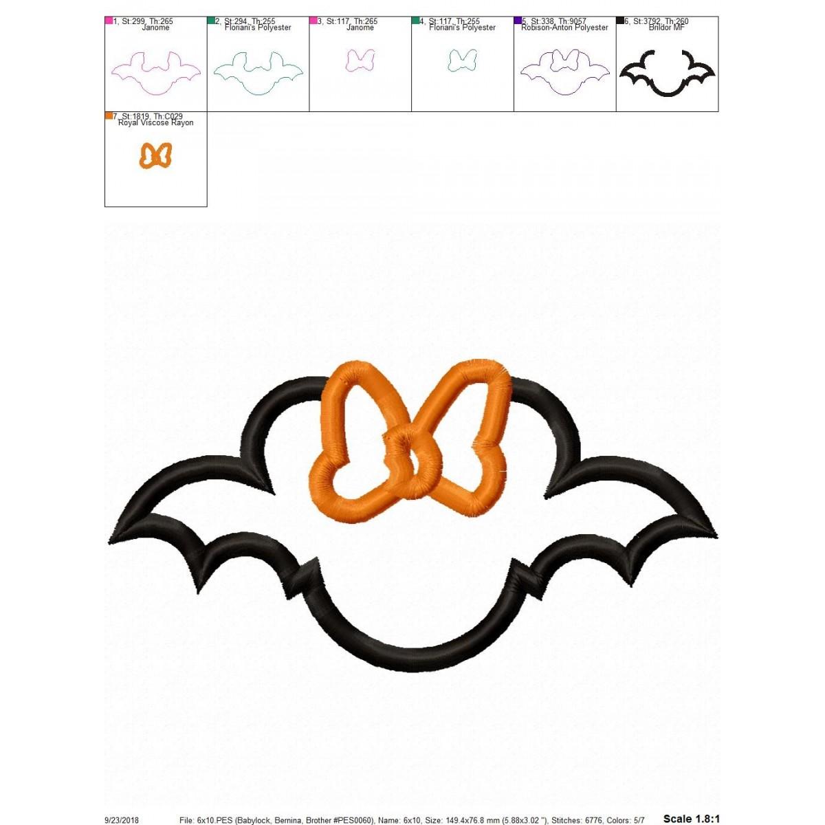 Halloween Bat Minnie Mouse Applique Design