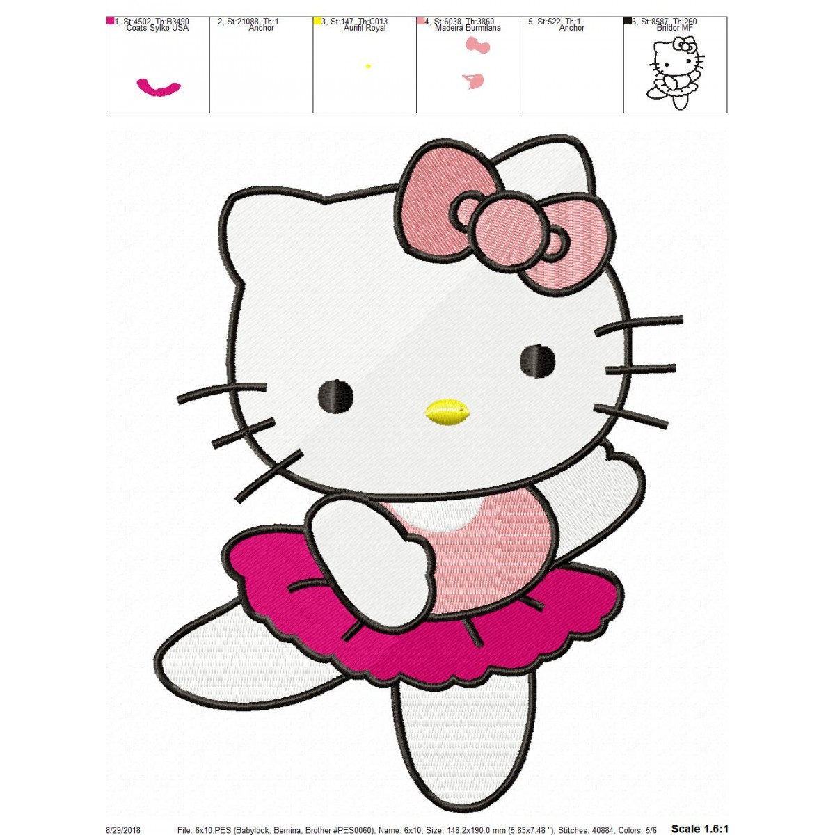 hello kitty dance embroidery