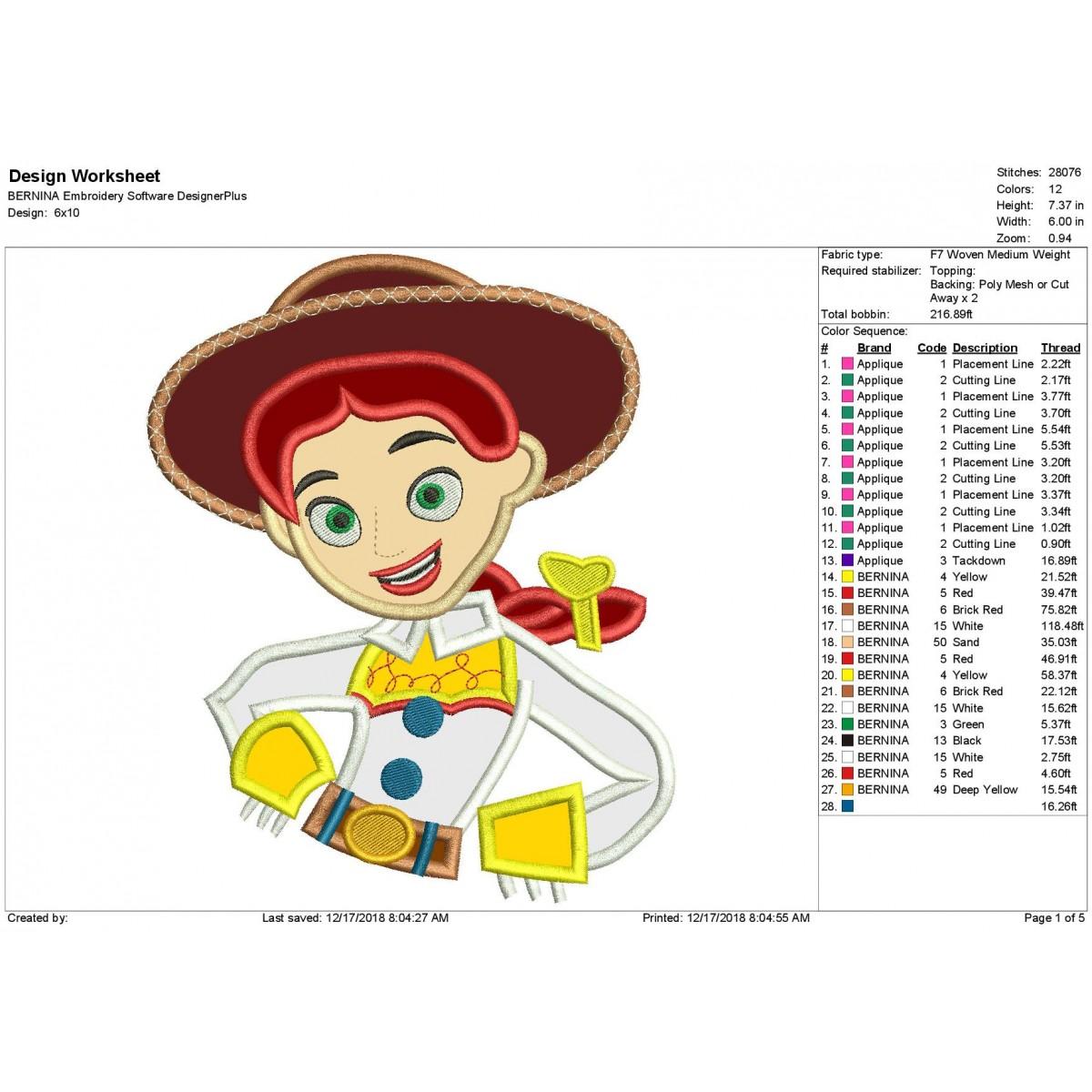 Jessie Toy Story Applique Design