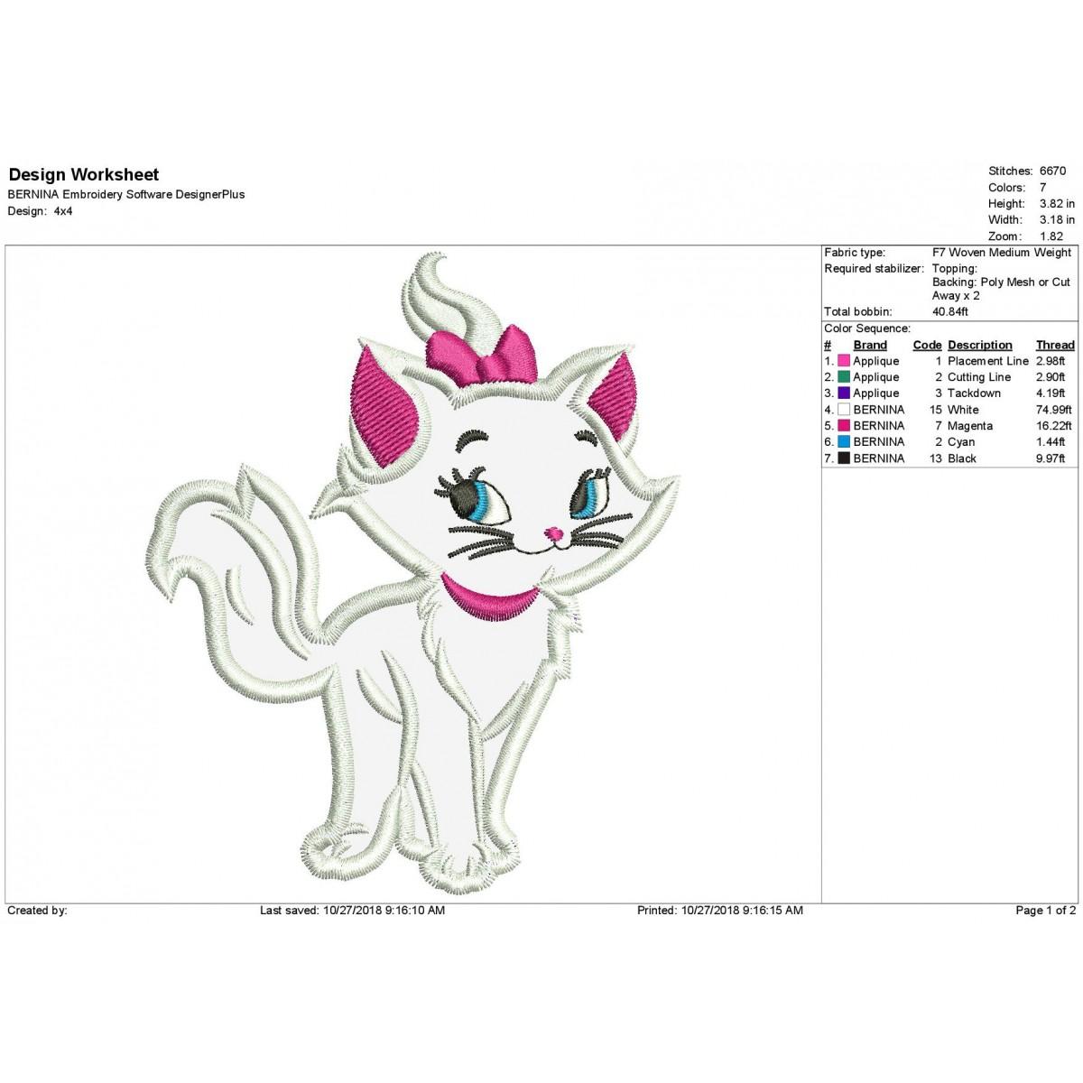 Marie Cat Applique Design Aristocat Applique