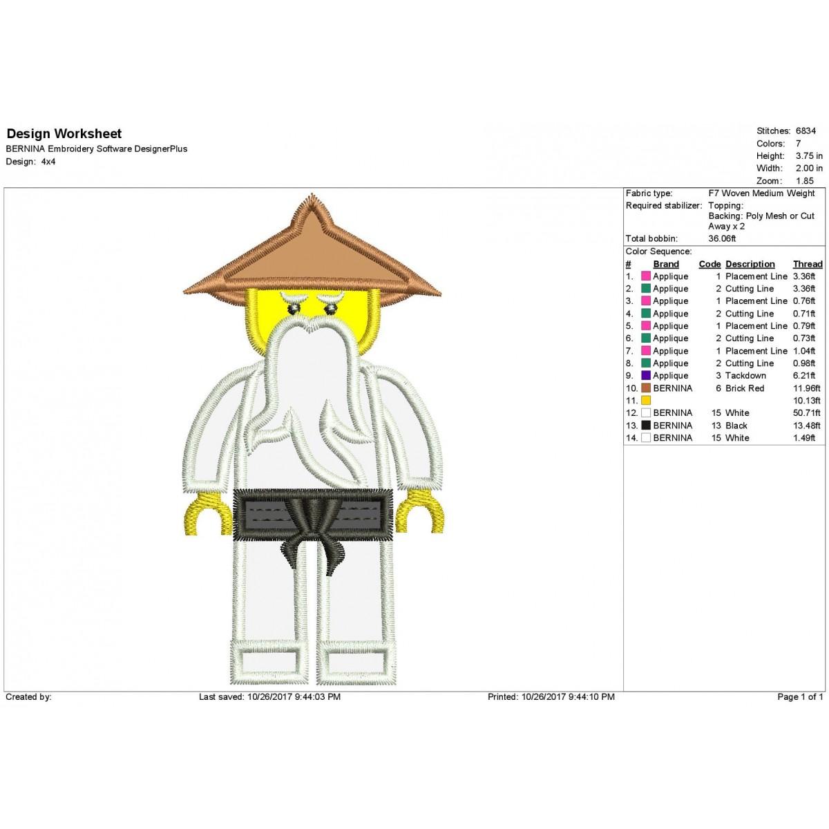 Master WU White Lego Ninjago Applique Design