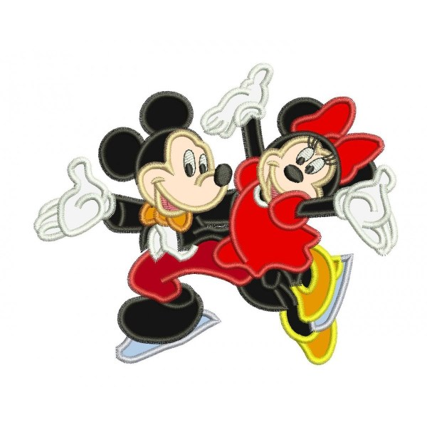Mickey And Minnie Mouse Skating Applique Design