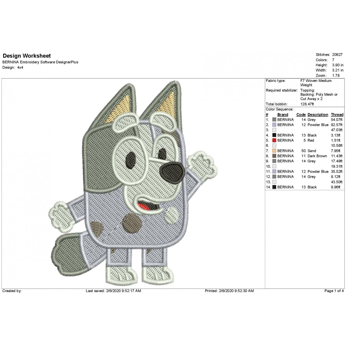 Muffin Bluey the Dog Filled Stitch Embroidery Design
