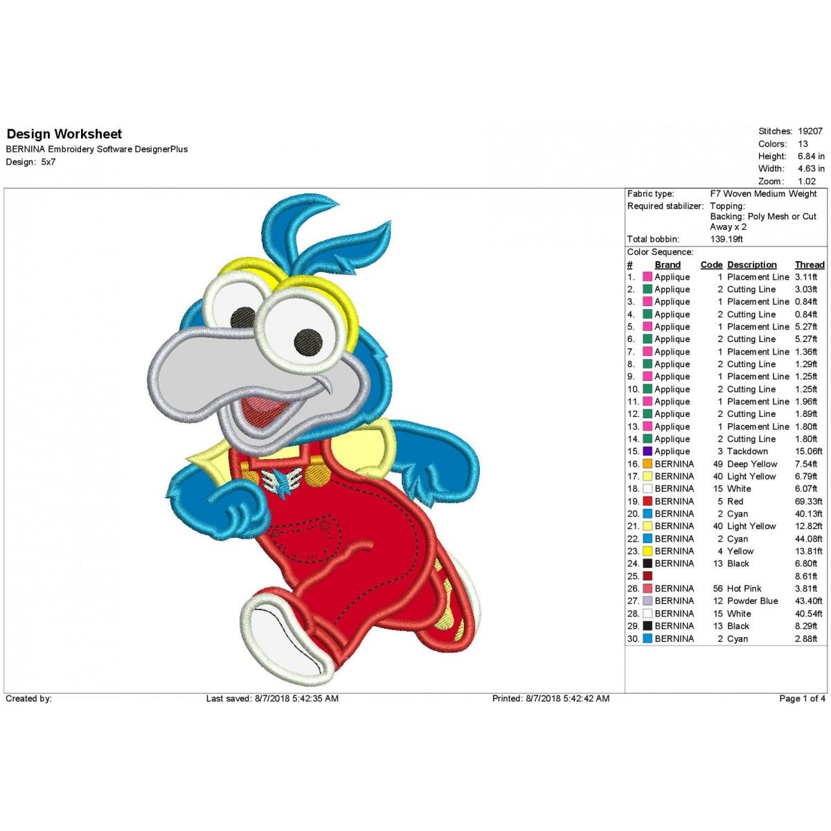 Muppet Babies Gonzo Applique Design