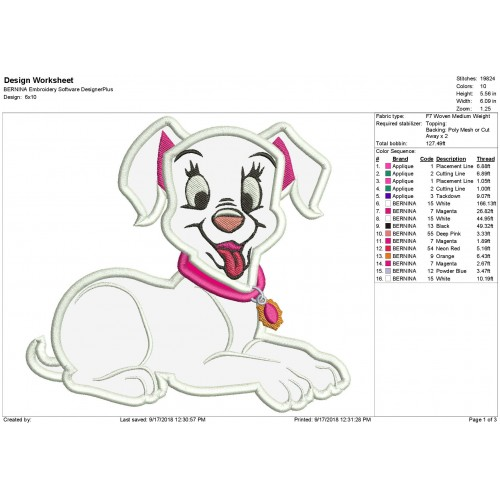 Oddball Puppy 101 Dalmatian Applique Design