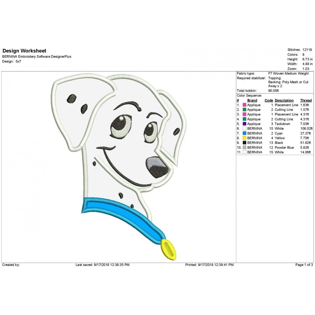 Perdita 101 Dalmatian Applique Machine Embroidery Design