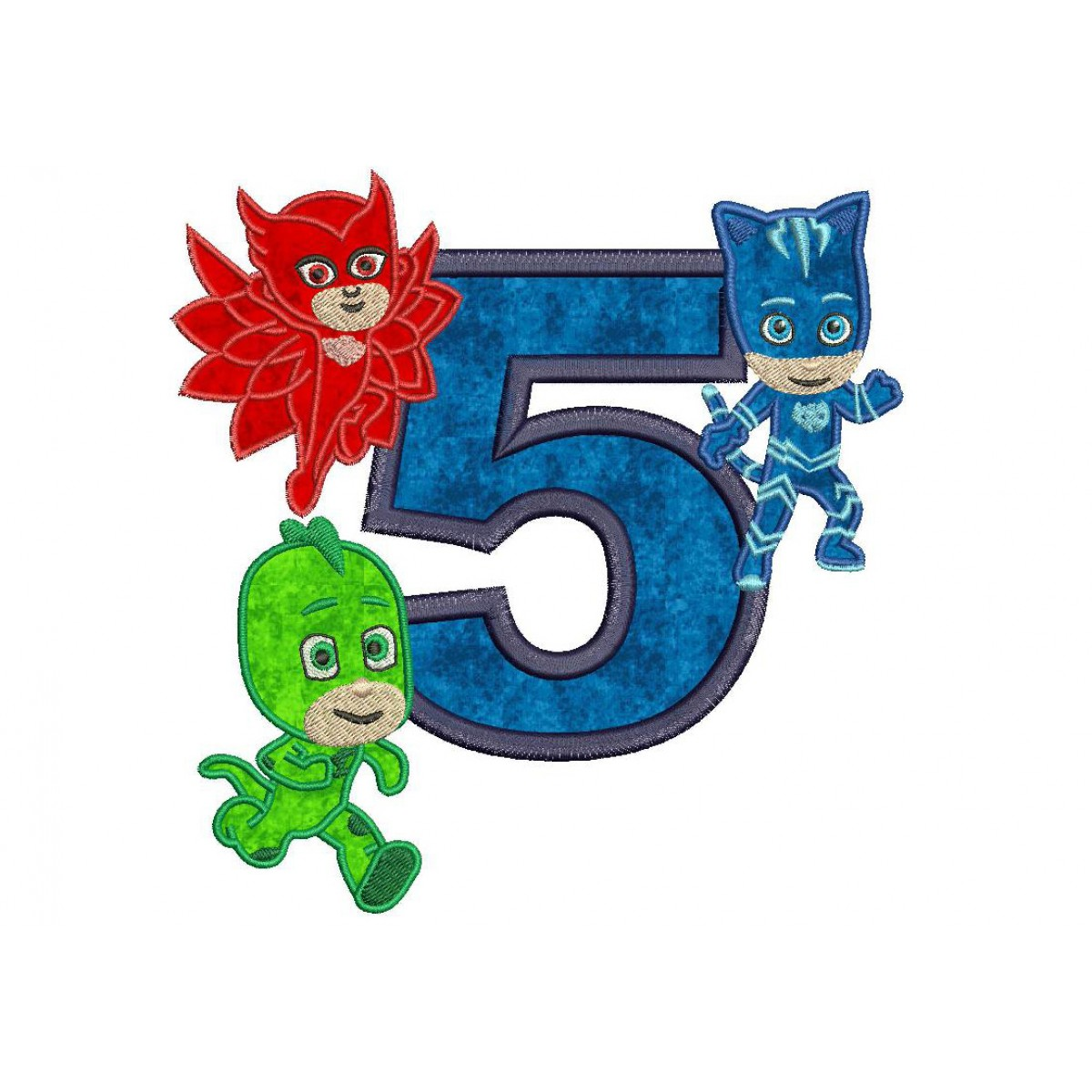 Pj Masks 5th Birthday Embroidery Applique Design