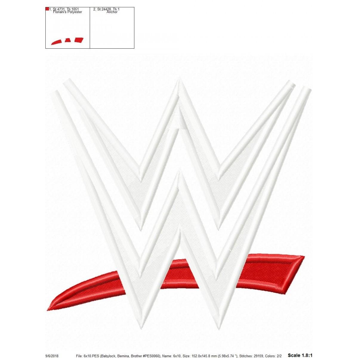 WWE Logo Embroidery Design