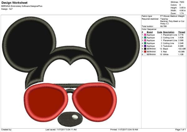 Mickey Heart Sunglasses Ears Applique Design