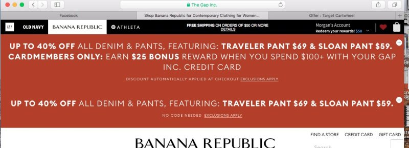 Repeated discount notice on Banana Republic website