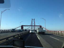 One of the bridges to Lisbon. It is called the 25 April bridge.