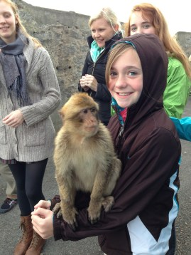 Everyone took a turn holding a macaque