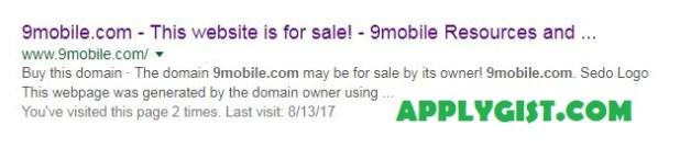 9mobile.com.ng website crash