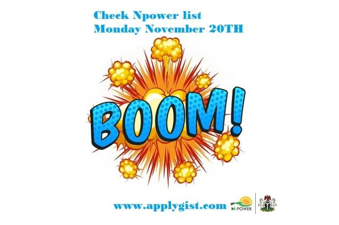 Check Npower list Monday, November 2017