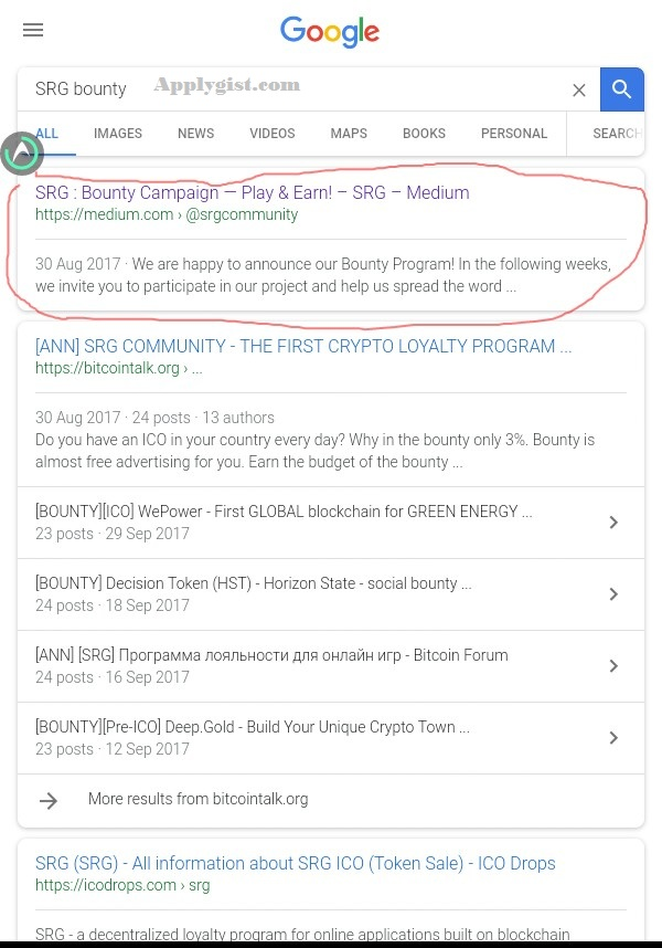 3.just search on google the name of the coin + bounty to get the info about how you can join the bounty program e.g SRG bounty  Read more: http://www.jackobian.com/threads/all-you-need-to-know-about-ico-bounty-and-start-making-your-cool-money-without-spending-dime.78796/#ixzz4zeHWYkM4