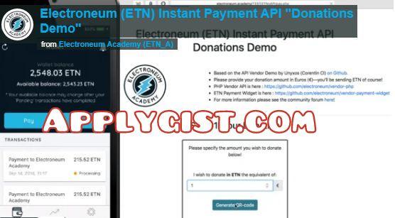 Electroneum API payment