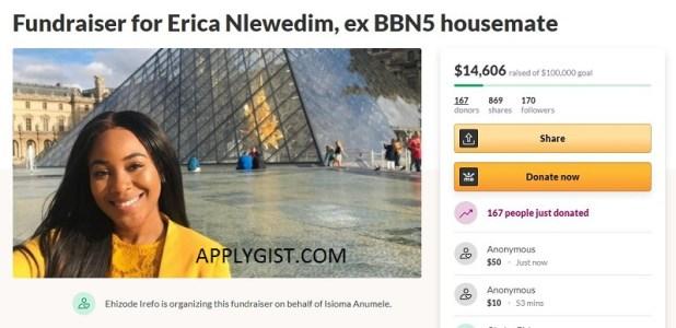 undraiser for Erica Nlewedim, ex BBN5 housemate