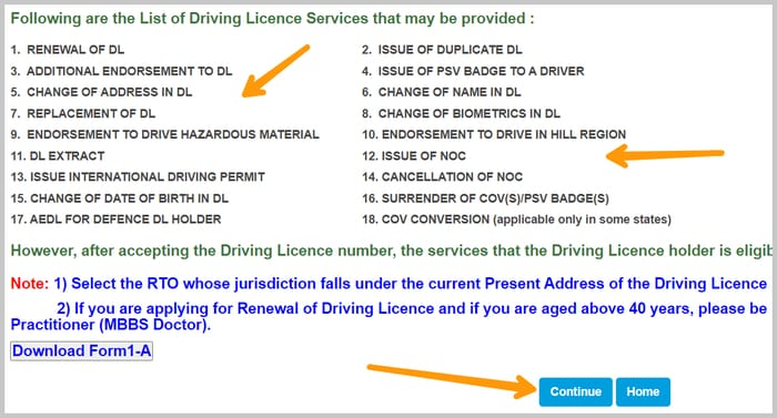 all the 18 services that sarathi.parivahan.gov.in provides including dl renewal