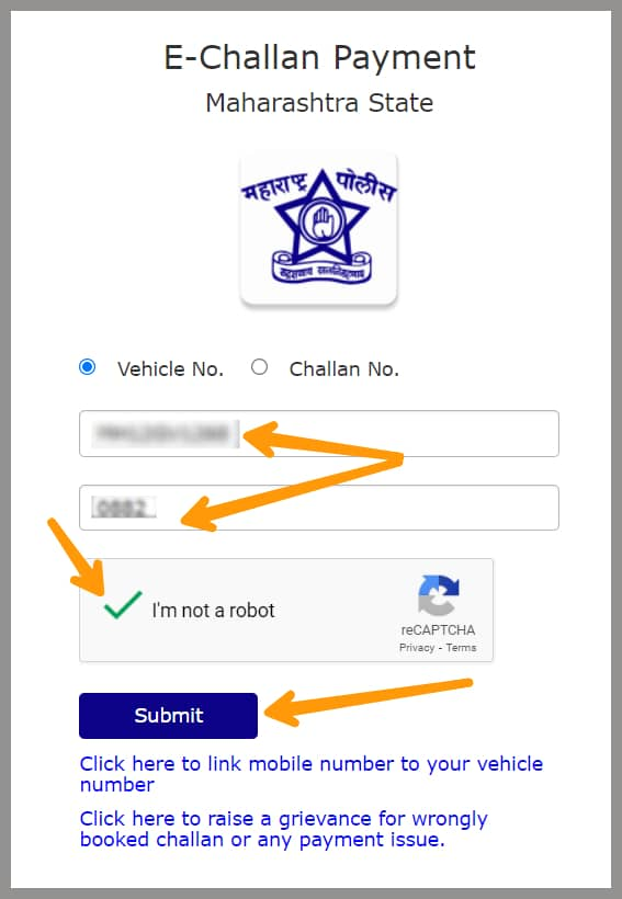 entering vehicle number and chassis number for paying the online traffic police challan in Maharashtra