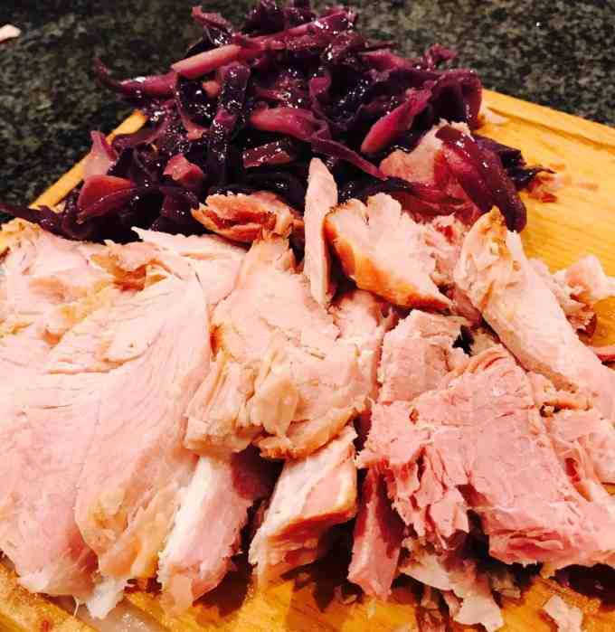 Roast Gammon and Red Cabbage braised with butter and balsamic