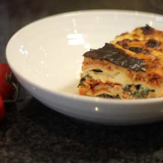 Pork, Mushroom and Spinach Lasagne.