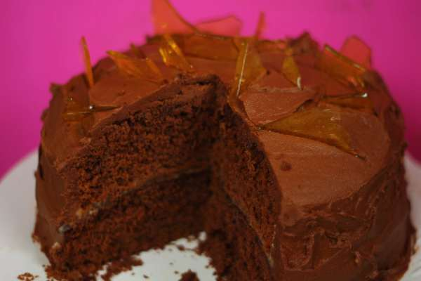 A wonderfully damp chocolate cake with a generous layer of soft caramel