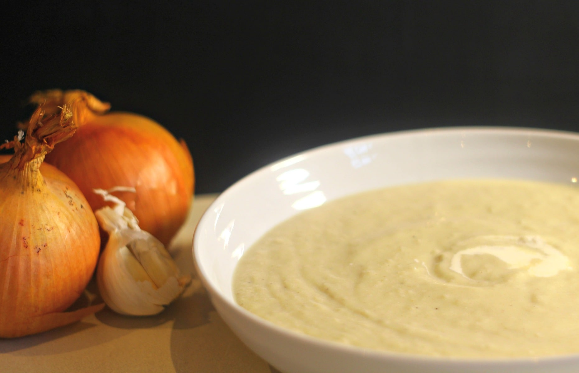 Velvety Baked Onion and Garlic Cream Soup.
