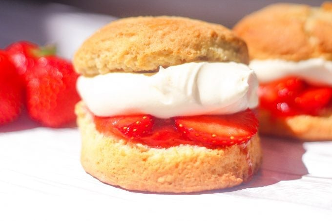 Strawberry shortcake recipe with strawberries , cream and hommade jam