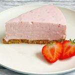 slice of easy no bake strawberry cheesecake