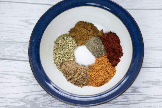 selection of spices for chilli in a bowl