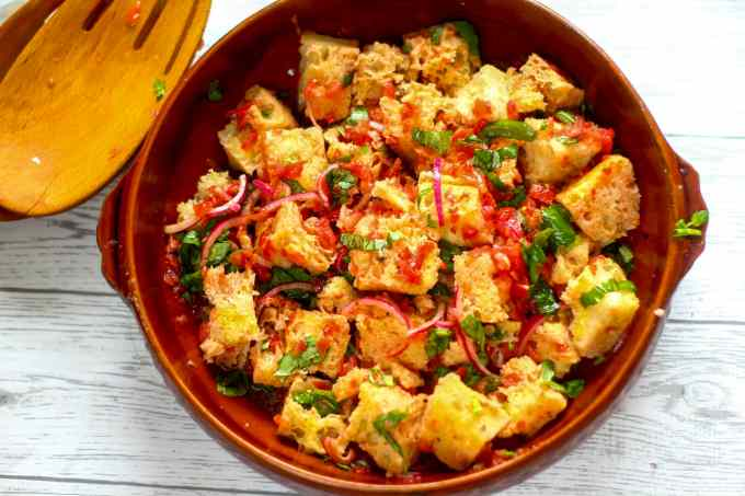 panzanella salad in a serving bowl