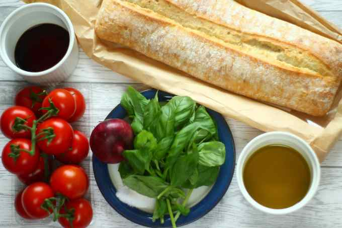 ciabatta, basil, garlic, salt, tomatoes, olive oil, vinegar, red onion