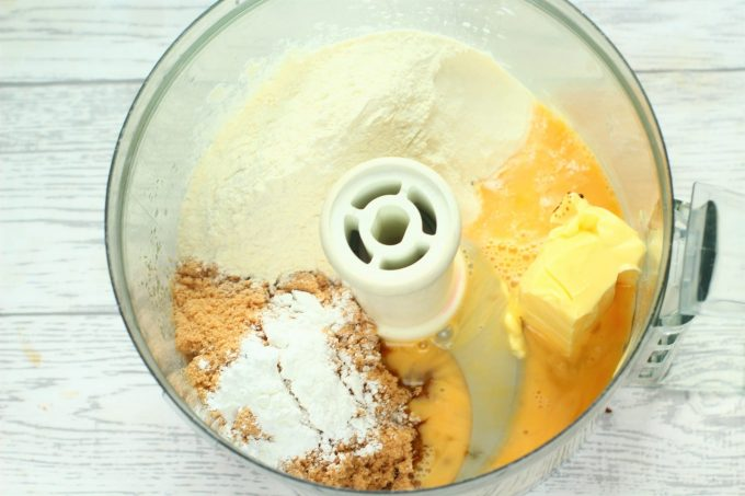 sticky toffee ingredients in a food processor bowl