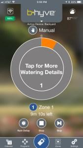 B-hyve watering in progress