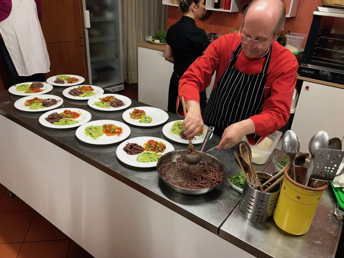 chef Paulo prepping pasta