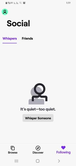 قسم Whispers في تطبيق twitch