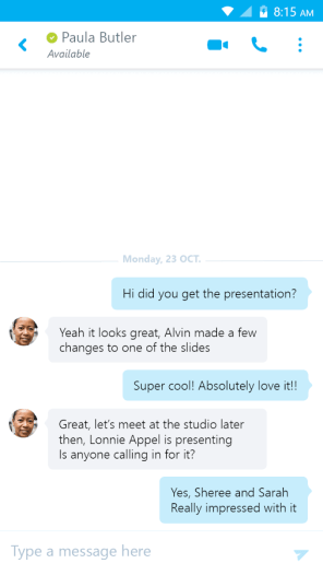Skype for Business for Android Chatting