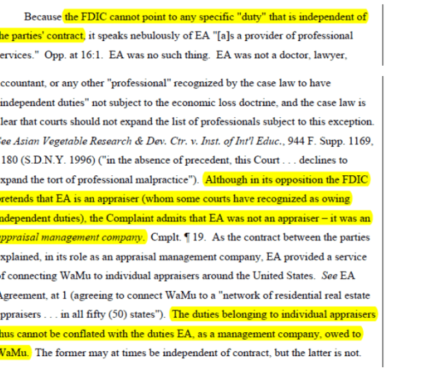 Update on FDIC v. CLGX - CoreLogic - eAppraiseIT