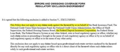 CNA -- FDIC Exclusion