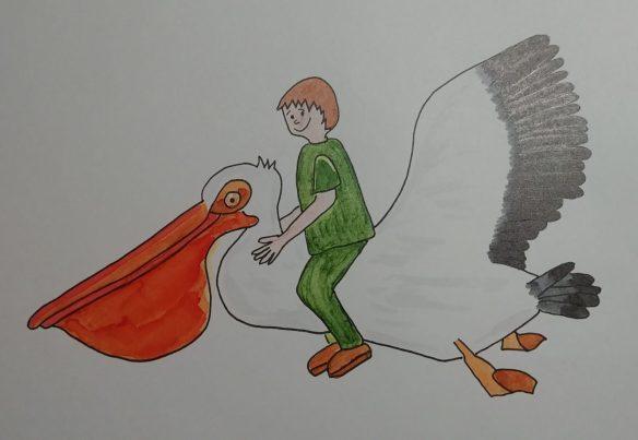 dessiner un pelican aux feutres