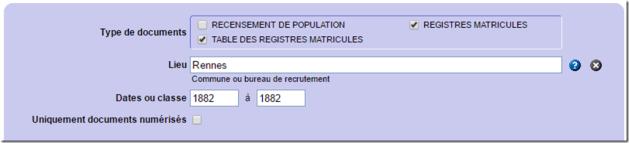 Recherche registres matricules